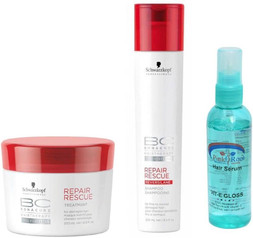 b4ff325b57 Schwarzkopf BC BonaCure Repair Rescue Shampoo + Masque with Pink Root Hair  Serum (Set of 3)