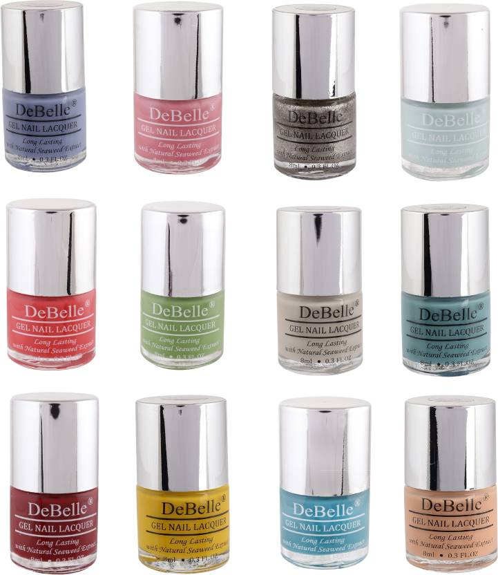 DeBelle Gel Nail Lacquer 8 ml each Kit of 12 (Purple,Pink,Glitter ...