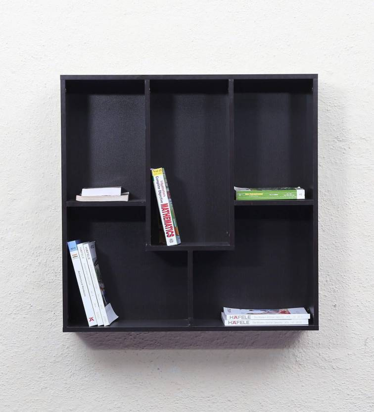 6ee3d8e3af65 Gorevizon Display Unit Cum Book Wall Shelf in Wenge Finish Wooden Wall Shelf  (Number of Shelves - 5