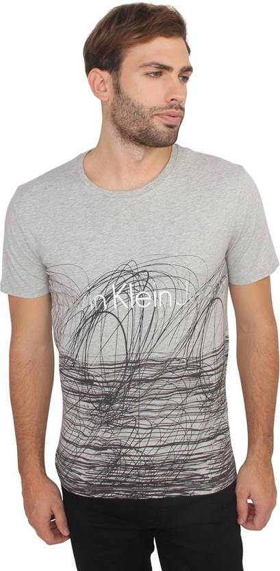 46998cfb642 Calvin Klein Solid Men Round Neck Grey T-Shirt - Buy Calvin Klein Solid Men  Round Neck Grey T-Shirt Online at Best Prices in India