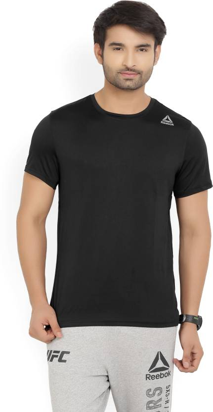 REEBOK Solid Men's Round Neck Black T-Shirt - Buy Black REEBOK Solid Men's  Round Neck Black T-Shirt Online at Best Prices in India | Flipkart.com
