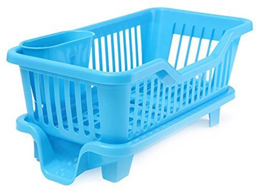 2cd3784a6b03 SYGA Medium Blue Kitchen Sink Dish Drainer Drying Rack Washing Holder  Basket Plastic Kitchen Rack (Blue)