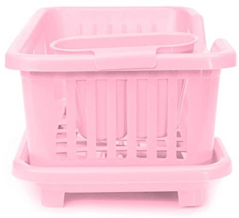 Syga Medium Pink Kitchen Sink Frontside Dish Drainer Drying Rack Washing Holder Basket Plastic