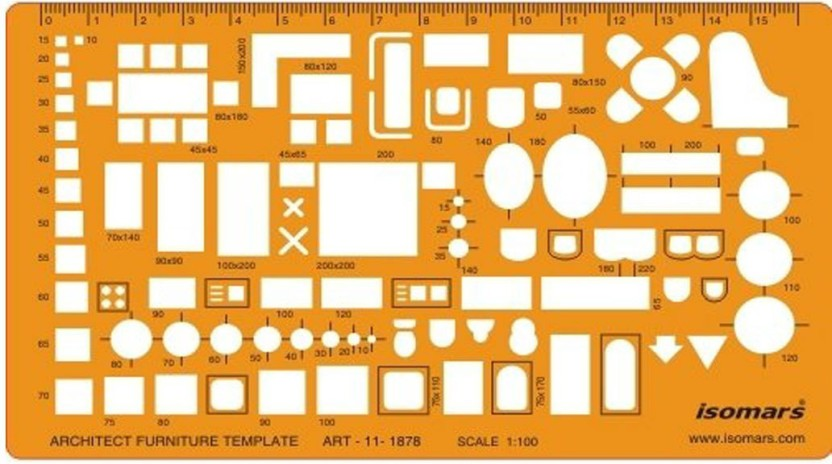 ARCHITECTURAL TEMPLATE LAYOUT STENCIL TECHNICAL DRAWING METRIC 1:50