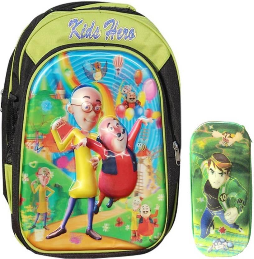 Abrose 3D Motu Patlu Waterproof School Bag (Multicolor 13b6617197fe3