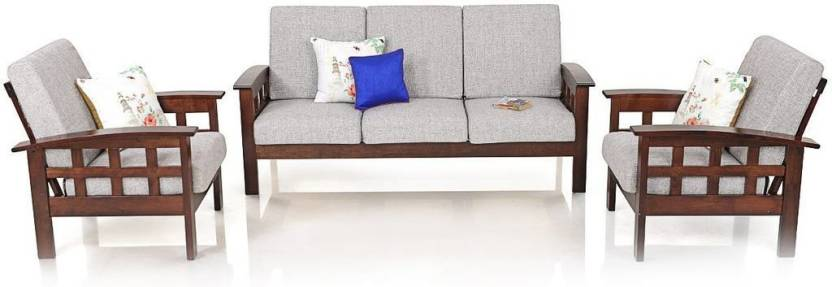 1ab0ff1264e RoyalOak Sydney Fabric 3 + 1 + 1 Brown Sofa Set Price in India - Buy ...