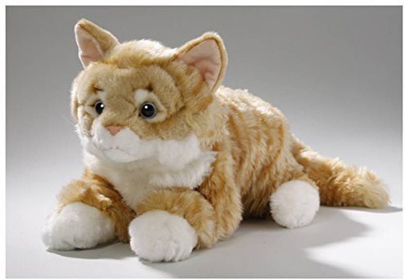 Carl Dick Stuffed Animal Cat Lying Tabby Plush Toy Soft Toy 14