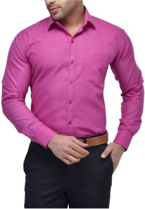Crease & Clips Men's Solid Formal Pink Shirt - Buy Crease & Clips ...