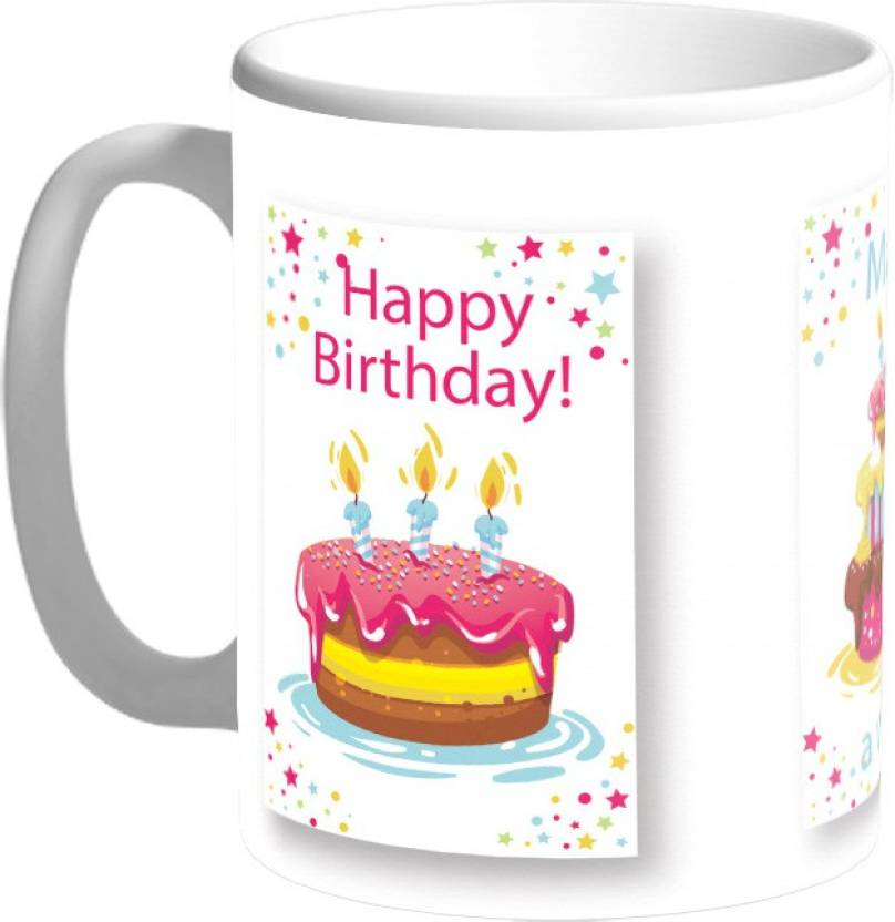 Mugs4you Happy Birthday Cake Design Personalised Ceramic Ceramic Mug