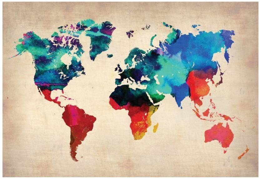 World Map watercolor like Artistic Poster for Home & Office 12x18