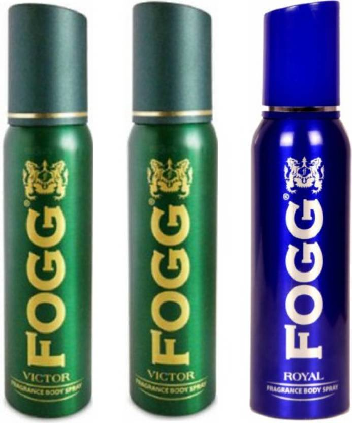 Fogg 2 Victor and 1 Royal Deodorant Combo Pack of 3 Body Spray - For Men