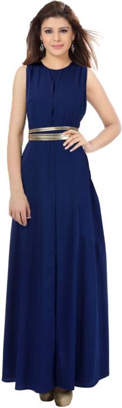 Ishin Women's Maxi Dark Blue Dress