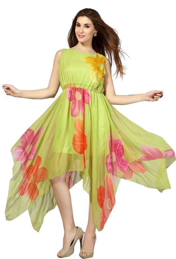 6890cbbc45c43f Ishin Women's A-line Green Dress - Buy Ishin Women's A-line Green Dress  Online at Best Prices in India | Flipkart.com