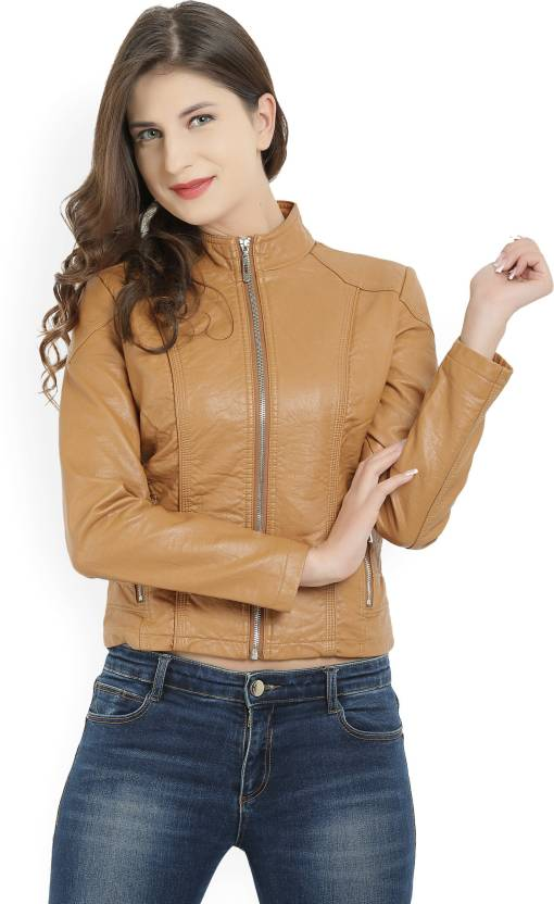 4c40c9346a44 People Full Sleeve Solid Women s Jacket - Buy brown People Full Sleeve  Solid Women s Jacket Online at Best Prices in India