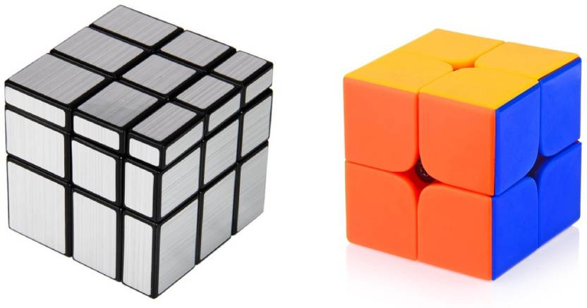 Emob Magic Rubik Silver Mirror & 2x2 Combo Puzzle Cube Brainstorming Game Toy (2 Pieces)
