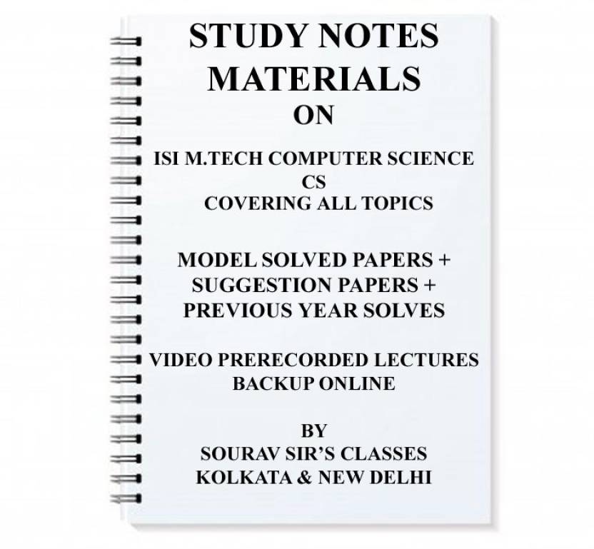 Study Material For Isi M tech Computer Science Cs With Topic