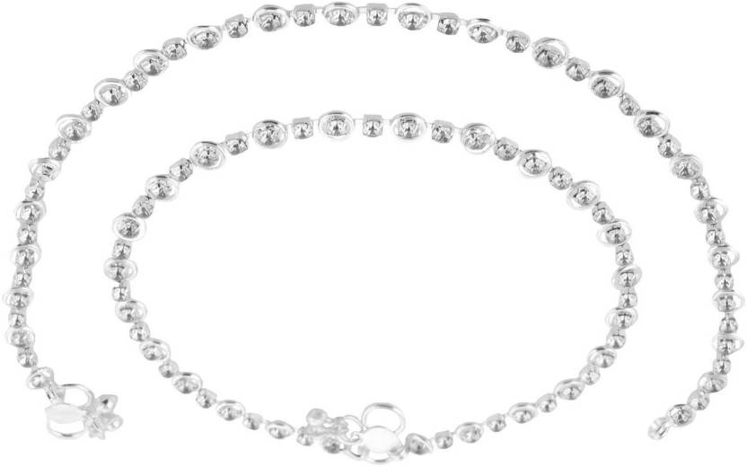 e72dd9e31 ZIory Silver Plated Crystal Beaded Traditional Anklets Payal for Girls and  women Alloy Anklet Price in India - Buy ZIory Silver Plated Crystal Beaded  ...