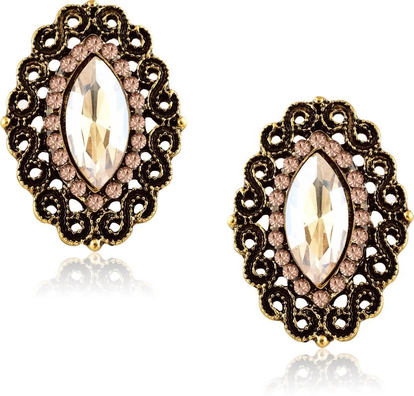 Women Bridal Jewelry Zircon Ear stud Pearl 18K Gold Filled Hoop Earrings