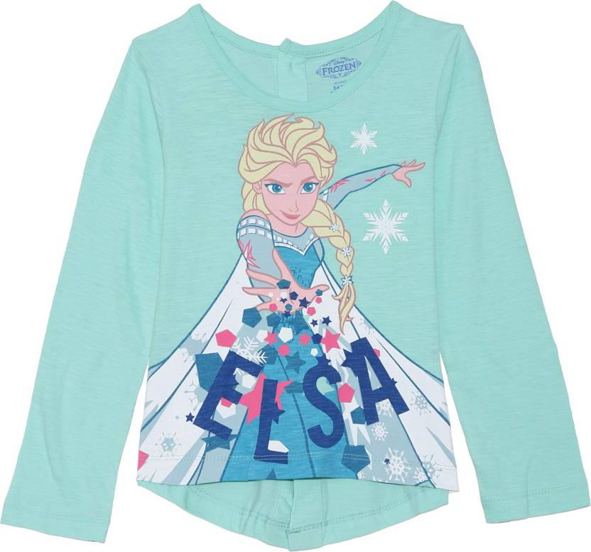 b23a80329 FROZEN Girl's Graphic Print Cotton T Shirt (Light Green, Pack of 1)