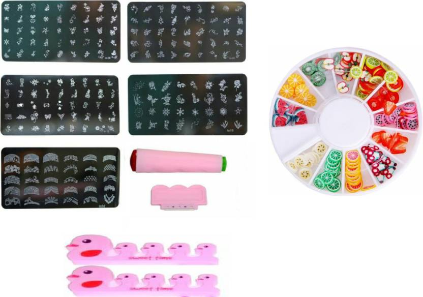 Royalkart Nail Art Stamping Kit With 5 Image Plate Finger Seperator