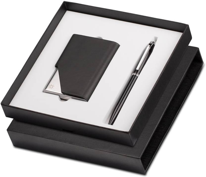 Pennline Atlas Black Chrome Trim Ballpoint Pen With Business Card