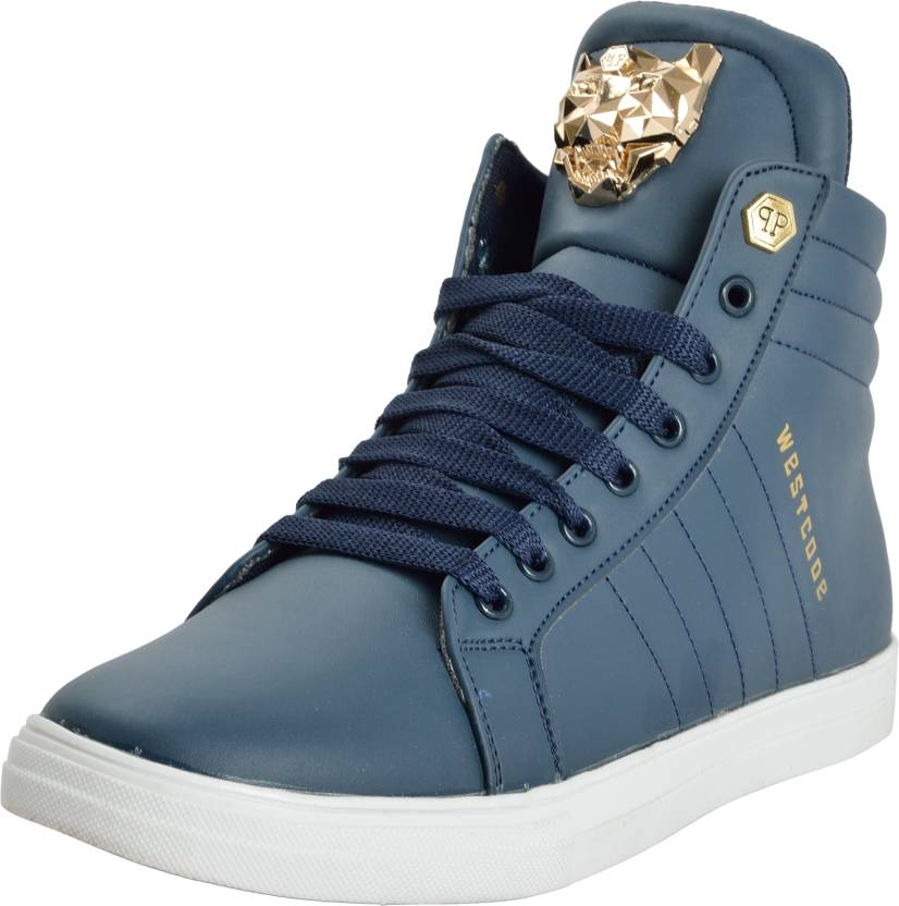 5b467cc9a2a West Code WESTCODE Mens Boots Synthetic Leather High Top Casual Shoes and  Sneakers 9095-Blue-7 Boots For Men
