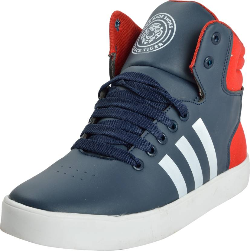 Black Tiger BLACK TIGER Men s Synthetic Leather High Top Blue Hihop Shoes  and Sneakers 8033-Blue-7 Dancing Shoes For Men (Multicolor) 90dc0dea1