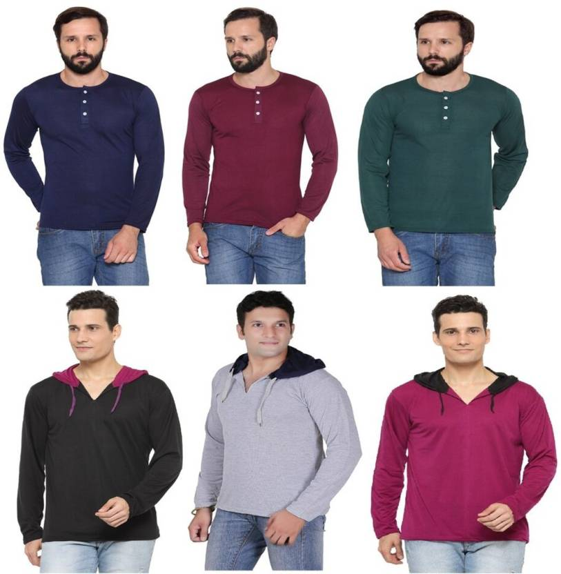 Rico Sordi Solid Mens Hooded Multicolor T-Shirt  (Pack of 6)