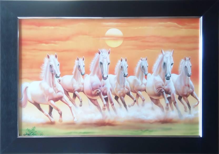 Art Collection Vaastu Seven 7 White Running Horses Framed
