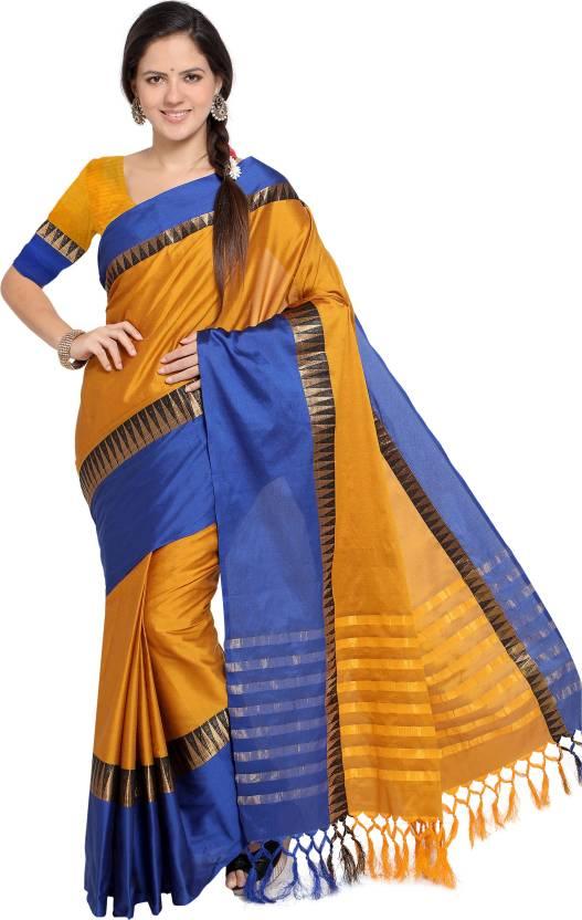 2a50fc7c2 EthnicJunction Self Design Fashion Cotton Silk Saree (Yellow