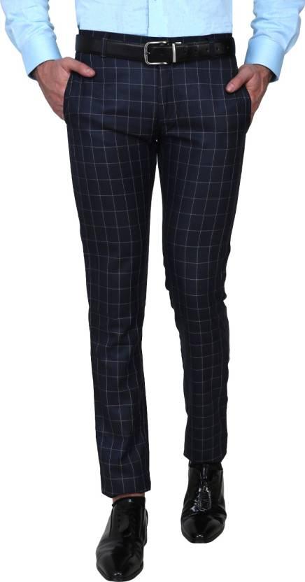 4fc49d392aa Shaurya-F Slim Fit Men Dark Blue Trousers - Buy Shaurya-F Slim Fit Men Dark  Blue Trousers Online at Best Prices in India