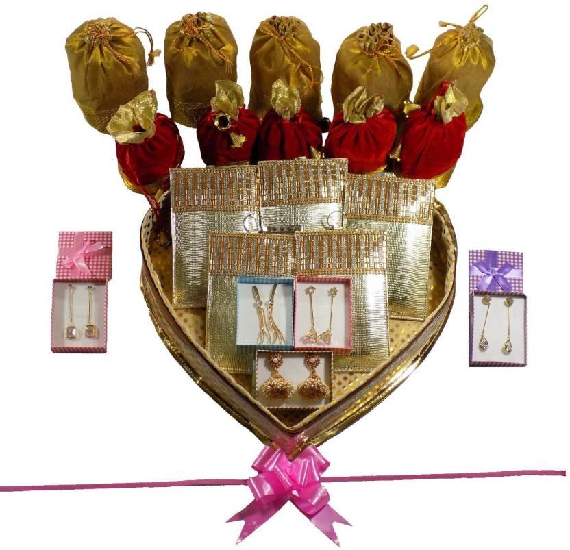 Bagaholics Golden Heart Shape Box Gift Hamper Wedding Gift Return