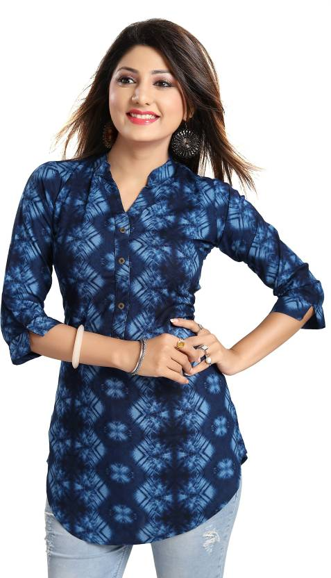 ALC Creations Casual 3/4th Sleeve Printed Womens Blue Top