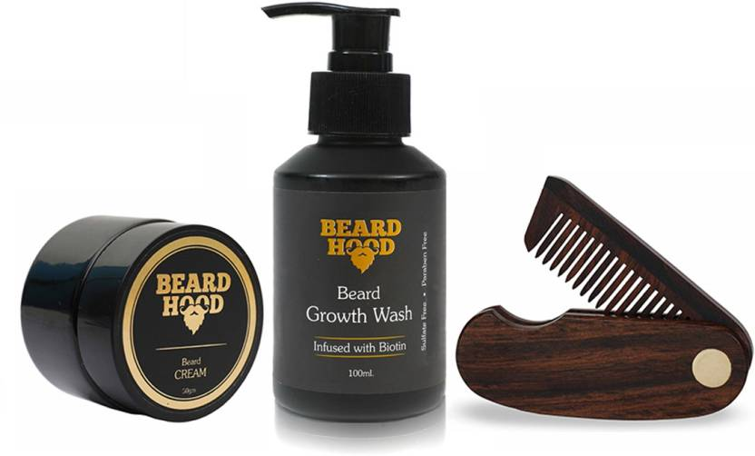 Beardhood Folding Beard Comb & Beard Growth Wash (100ml) & 100