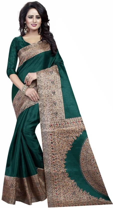 e2711534994 Buy Ishin Printed Kalamkari Art Silk Green Sarees Online   Best ...
