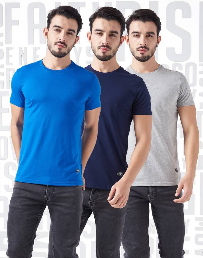 Metronaut Solid Mens Round Neck Blue, Blue, Grey T-Shirt  (Pack of 3)