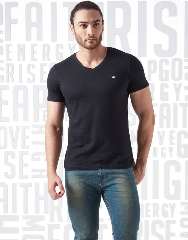 Metronaut Solid Mens V-neck Black T-Shirt