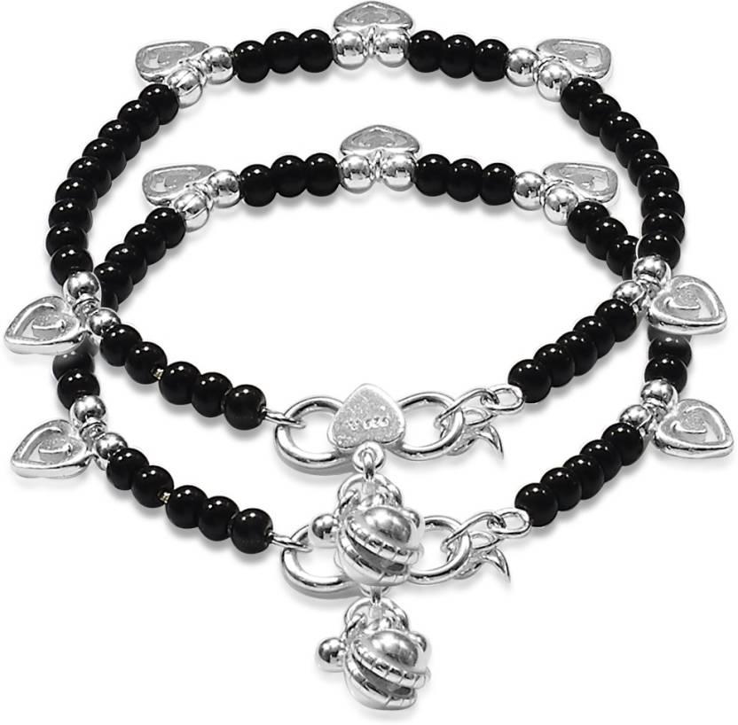 7982ba091e291 Taraash Cute Black Beaded Nazariya Sterling Silver Anklet Price in ...