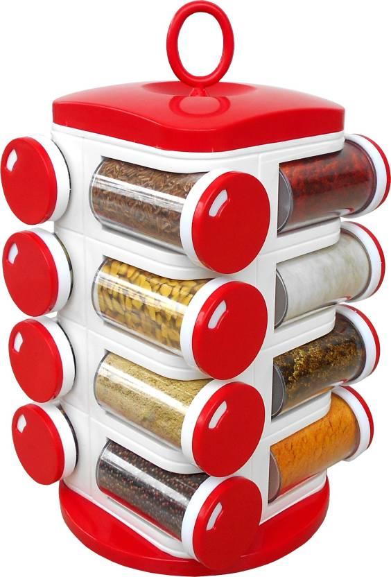 Prince 16 Jar Revolving Red Spice Rack Masala Box 1 Piece Condiment