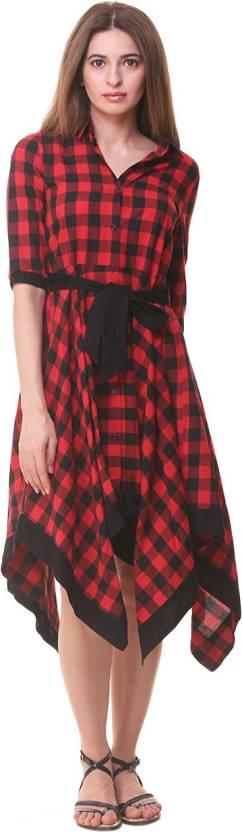 HIVE91 Women's Wrap Red, Black Dress
