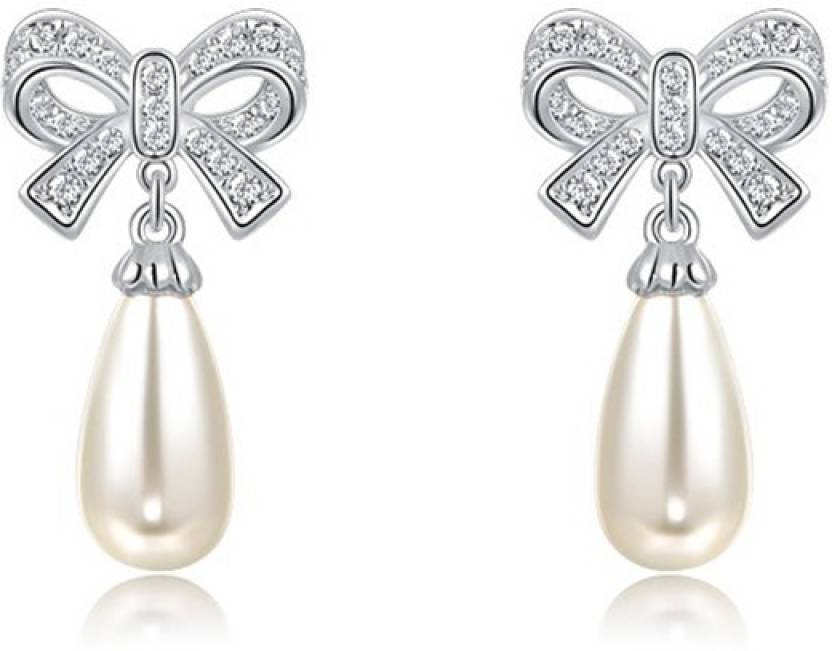 0f89e37de Silver Shoppee Silver Shoppee 'Magical LOVE' Crystal, Pearl Sterling Silver  Stud Earrings for