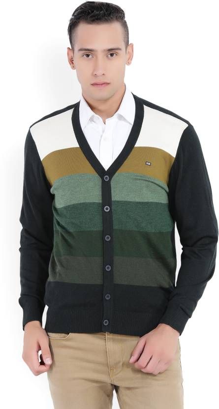 62ba29405 Arrow Sport Striped V-neck Casual Men s Multicolor Sweater - Buy Green  Arrow Sport Striped V-neck Casual Men s Multicolor Sweater Online at Best  Prices in ...