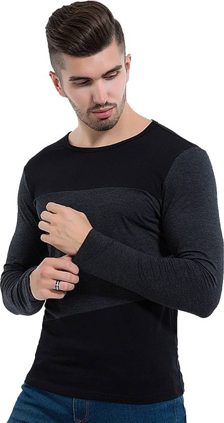 Astro Solid Mens Round Neck Black, Grey T-Shirt