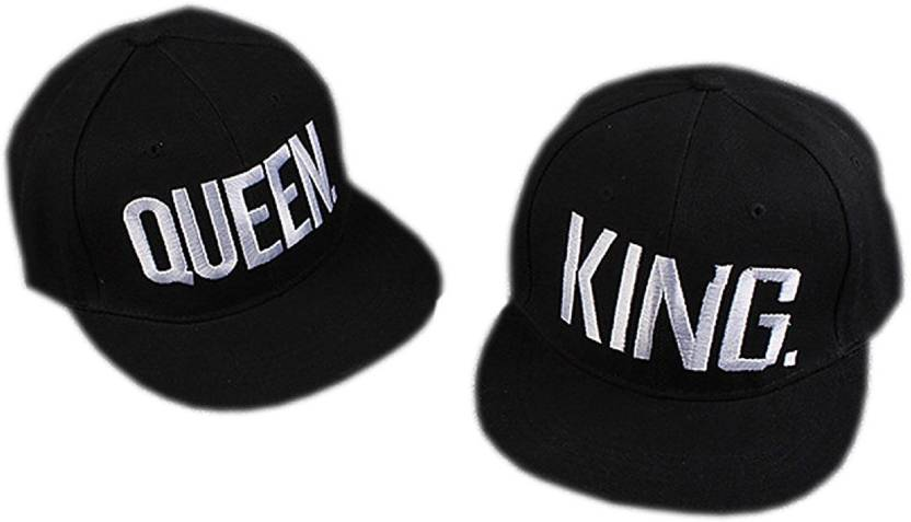 d930ac167480c JAMONT Stylish Cotton Adjustable King And Queen Black Caps For Couple 1  Pair Cap (Pack of 2)