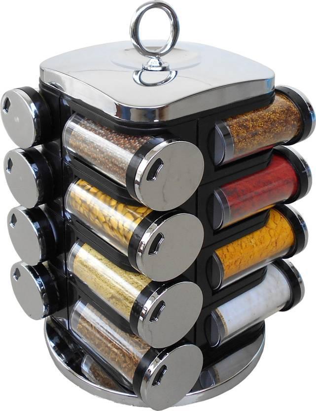 775d5a165b27 Fashion Rokz 16-Jar Revolving Siver Black Spice Rack Masala Box Condiment  Set
