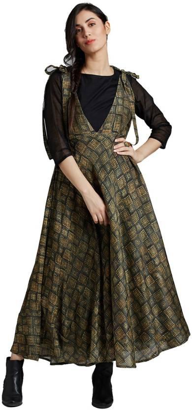 c2de025ac91 Jaipur Kurti Women Maxi Green Dress - Buy Jaipur Kurti Women Maxi Green  Dress Online at Best Prices in India