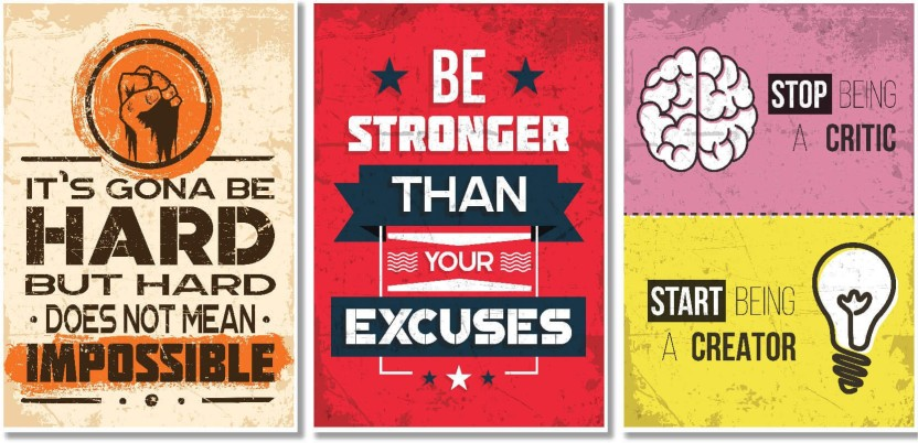Motivational Posters For Office And Study Room   Set Of 3   13x19 In    Inspirational