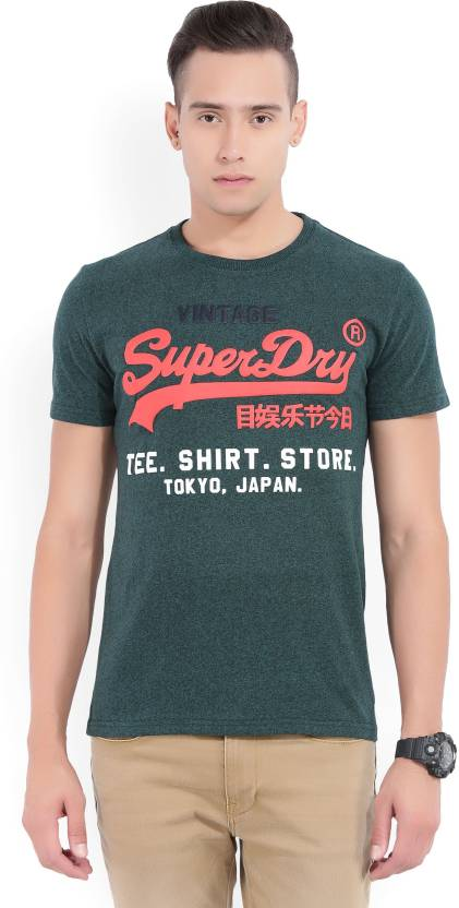 27c5a0d7eaa040 Superdry Printed Men s Round Neck Green T-Shirt - Buy Blue Superdry Printed  Men s Round Neck Green T-Shirt Online at Best Prices in India