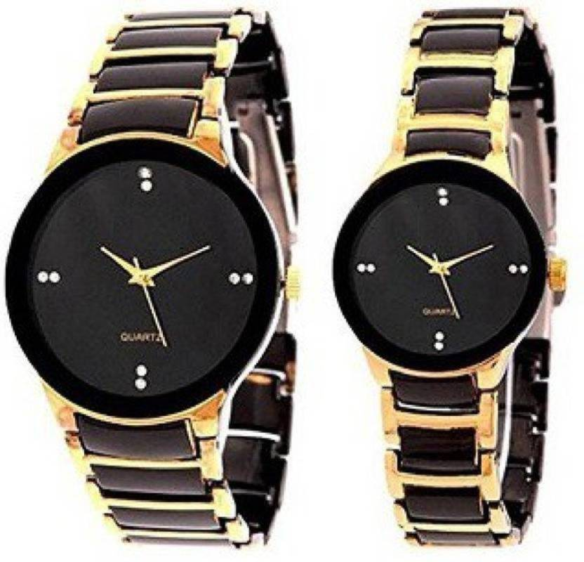 27c0c13989f3 blutech gold black combo stylish wedding collection couples good gift for  some on special combo watches Watch - For Men   Women - Buy blutech gold  black ...