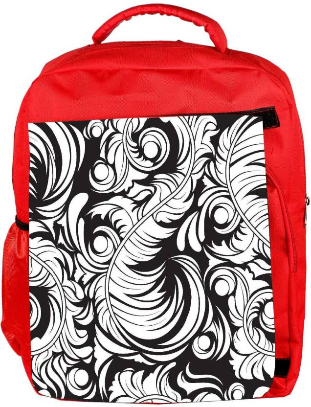 2bd9e218646e Snoogg Eco Friendly Canvas White Leaf Pattern Designer Backpack Rucksack  School Travel Unisex Casual Canvas Bag Bookbag Satchel 5 L Backpack (Red)